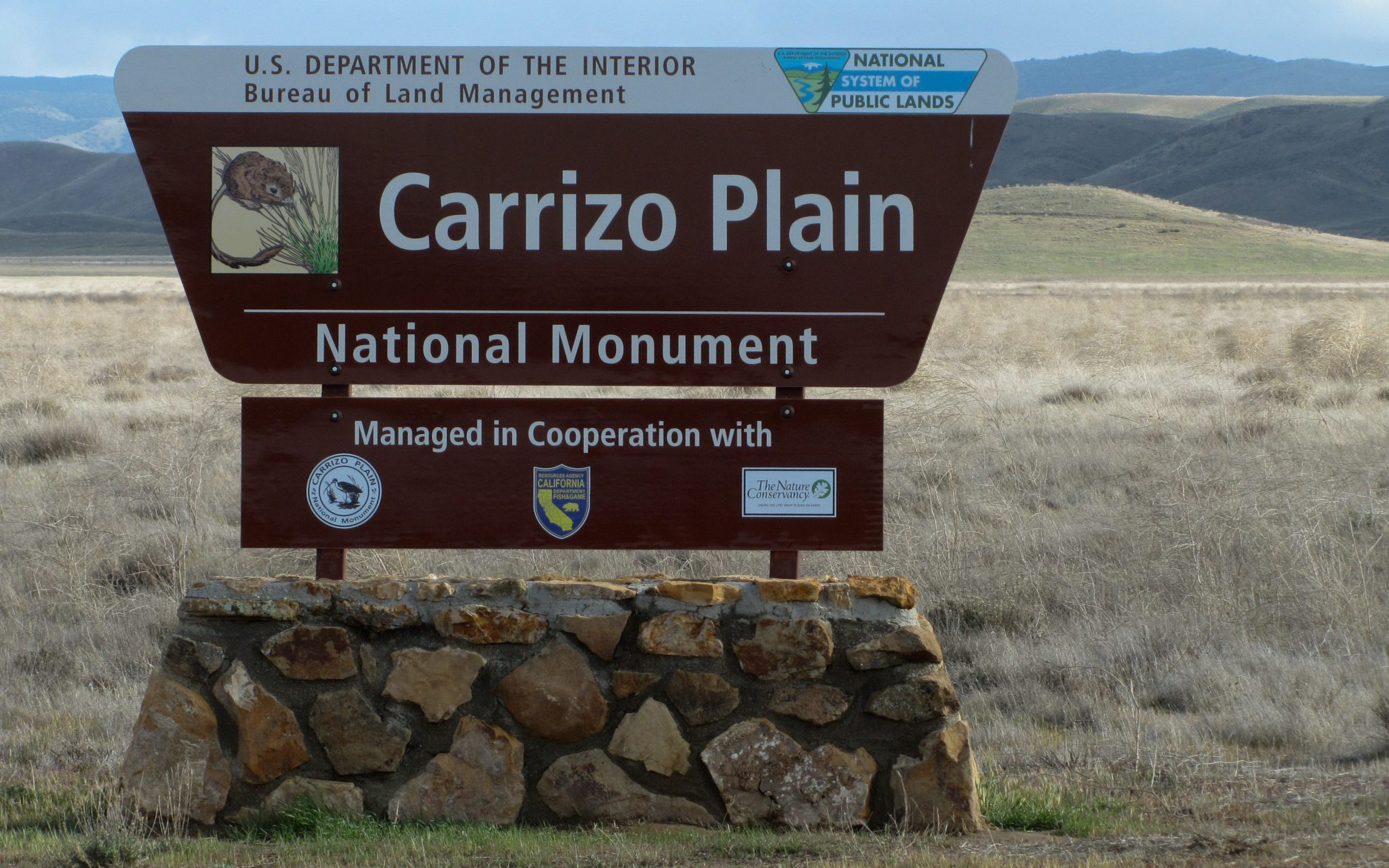 Carrizo Plain National Monument sign